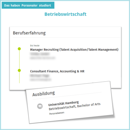 Schaubild zeigt, dass Absolventen des Bachelors in Betriebswirtschaft an der Universität Hamburg erfahrungsgemäß als Consultant Finance, Accounting and HR und Manager Recruiting (Talent Acquisition/Talent Management) geworden sind